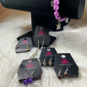 NWT Paparazzi Bundle Earrings & Bracelet Purple